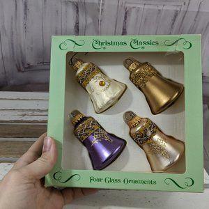 Vintage Krebs & Sign Bell Gold Purple Christmas Or